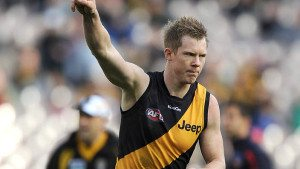 Jack Riewoldt of Richmond celebrates after kicking a goal, during the Round 12 AFL match between the Richmond Tigers and the Adelaide Crows at the MCG in Melbourne, Saturday, June 15, 2013. (AAP Image/Joe Castro) NO ARCHIVING, EDITORIAL USE ONLY